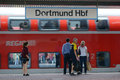 Arrival of commuter train dortmund germany september people on the platform during the the on the station dortmund germany on Royalty Free Stock Photos