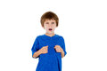 Arrogant kid showing a gesture of are you talking to me closeup portrait adorable pointing at himself angry and asking isolated on Royalty Free Stock Photography