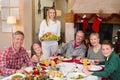 Arrosto del tacchino della tenuta della donna con la famiglia al tavolo da pranzo Fotografia Stock Libera da Diritti