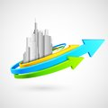 Arrow around building illustration of skycraper Royalty Free Stock Photos