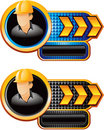 Arrow banner checkered construction gold worker Arkivfoto