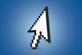 Arrow cursor icon standing white pixeled computer mouse on blue background Royalty Free Stock Image