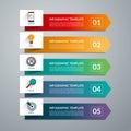Arrow design elements for business infographics. 5 options, steps, parts