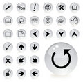 Arrow and directional icons in grey color Royalty Free Stock Images