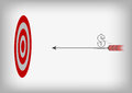 Arrow with dollar symbol and archery target on gray bac vector background Royalty Free Stock Photos