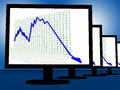 Arrow falling on monitors shows failure or monetary crisis Stock Photography