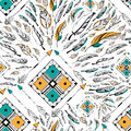Arrow and feather for Tribal boho style seamless pattern