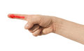 Arrow on finger red man Royalty Free Stock Photo
