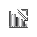 Arrow graph going down line icon, outline vector sign, linear pictogram isolated on white Royalty Free Stock Photo