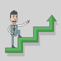 Arrow graph going up and businessman going up with case rises to top step of stairs