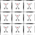 Arrow with heart in a cell romantic modern seamless pattern background illustration Royalty Free Stock Photo