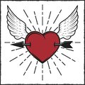 Arrow in heart and wings colored print with rays. Vector illustration in vintage style. Royalty Free Stock Photo