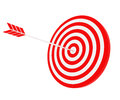 The arrow hit the target red and white composition Royalty Free Stock Photo
