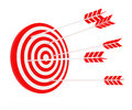 The arrow hit the target red and white composition Stock Photo