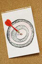 Arrow hitting dartboard Royalty Free Stock Image