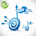 Arrow hitting directly in bulls eye illustration with sticker Stock Photography