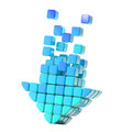 Arrow icon made of cubes isolated Royalty Free Stock Image