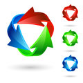 Arrow icons set of different colored circles on the white Royalty Free Stock Photo