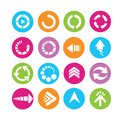 Arrow icons set of web in colorful buttons Stock Images