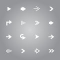 Arrow icons set white collection Stock Photo