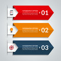 Arrow infographic options banner. Vector template with 3 steps Royalty Free Stock Photo