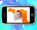 Arrow Jumping Wall On Smartphone Showing Conquer Royalty Free Stock Photos