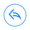 Arrow left, reply circular line icon. Round colorful sign. Flat style vector symbol.