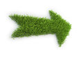 Arrow made out of a patch of grass Stock Image