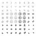 Arrow related web icons set grey on white