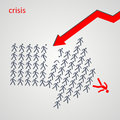 Arrow shows the way - The crowd of workers follows the team lead