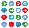 Arrow sign icon set. Simple circle shape internet button Royalty Free Stock Photo