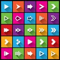Arrow sign icon set simple square shape buttons flat icons for web and mobile app metro style cut from paper Stock Images