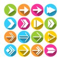 Arrow symbols icons set arrows in circles pictograms flat isolated vector illustration Royalty Free Stock Photos