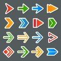Arrow symbols icons set arrows colorful stickers collection internet isolated vector illustration Stock Photography