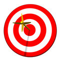 Arrow in Target Bullseye Stock Photos