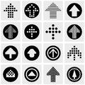 Arrow vector icons set on gray Royalty Free Stock Photo