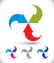 Arrows abstract loop symbol, vector concept pictogram
