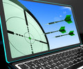 Arrows aiming on laptop shows perfect strategies and accurate shoot Royalty Free Stock Image