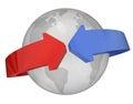 Arrows Around Globe International Relations Royalty Free Stock Photo