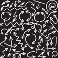 arrows. Blackboard vector. Set of cursor. Royalty Free Stock Photo