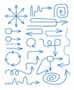 Arrows, blue, hand-drawn, fine, straight, rotation, spiral, circular, infographics. Royalty Free Stock Photo
