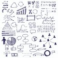 Arrows and business elements, info graphic. Set of doodle business charts info graphics elements on a sheet in a cage