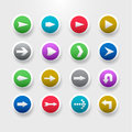 Arrows buttons set of signs icons simple circle internet in different colors Stock Image