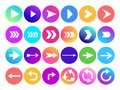 Arrows in circle icon. Website navigation arrow button, colorful gradient round back or next sign and web arrowhead