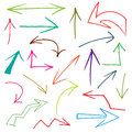 Arrows collection of hand drawn doodle style in various directions and styles Stock Images