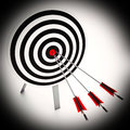 Arrows On Dartboard Shows Perfect Strategy Royalty Free Stock Photography