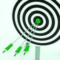 Arrows on dartboard shows perfection and efficiency Royalty Free Stock Images