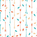 Arrows and feathers boho seamless pattern