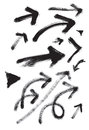 Arrows in grunge vector set expressional picture whirlwind and energy of movement Royalty Free Stock Photos