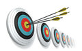 Arrows hitting the center of target Royalty Free Stock Image